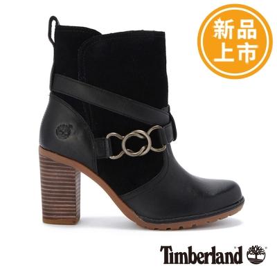 Timberland-女款黑色扣環皮革中筒靴