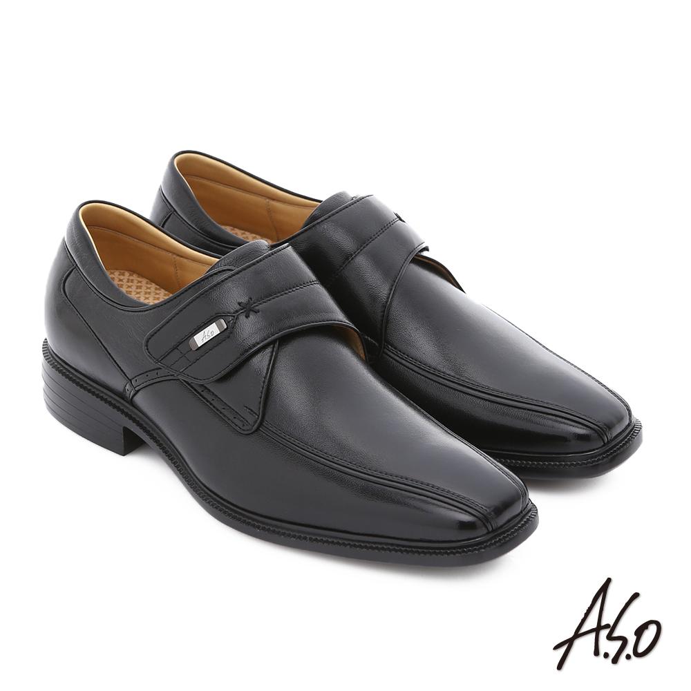 A.S.O 輕旅健步 純羊皮魔鬼氈奈米氣墊皮鞋 黑