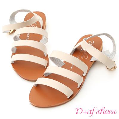 D+AF 自信百搭.簡約三條帶平底涼鞋*米杏