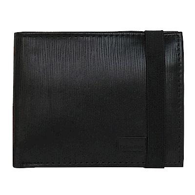 Calvin Klein黑色直紋皮革附活動卡夾雙摺短夾