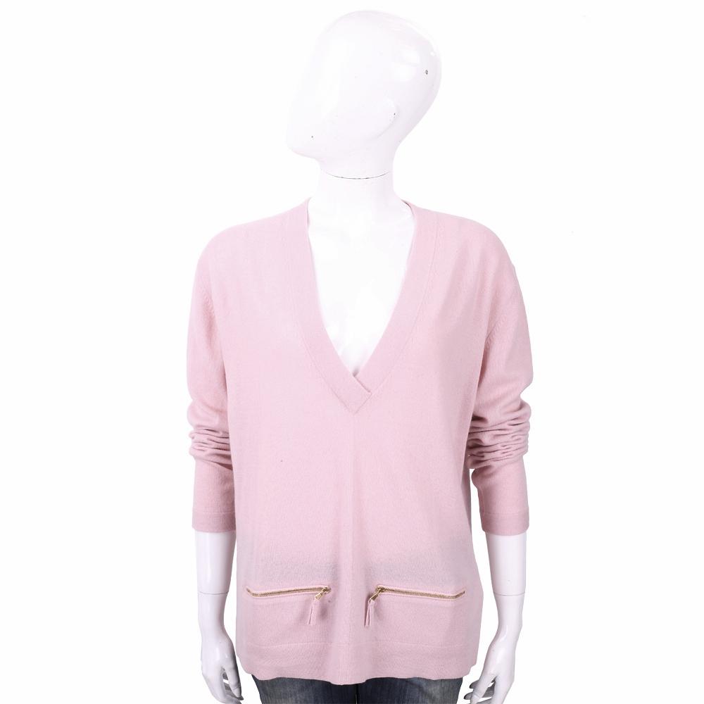 ALLUDE 喀什米爾粉色拉鍊口袋細節V領羊毛針織衫
