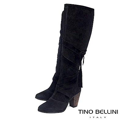 Tino Bellini 巴西進口綁帶交錯高跟長靴_ 黑