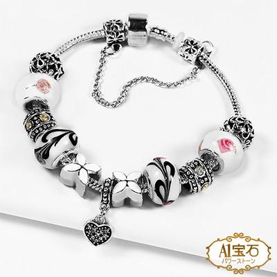 A1寶石  潘朵拉元素日本頂級時尚-施華晶鑽七脈輪星座琉璃手鍊(含開光加持)