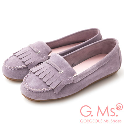 G.Ms. 牛麂皮減壓豆豆底流蘇莫卡辛鞋-粉紫