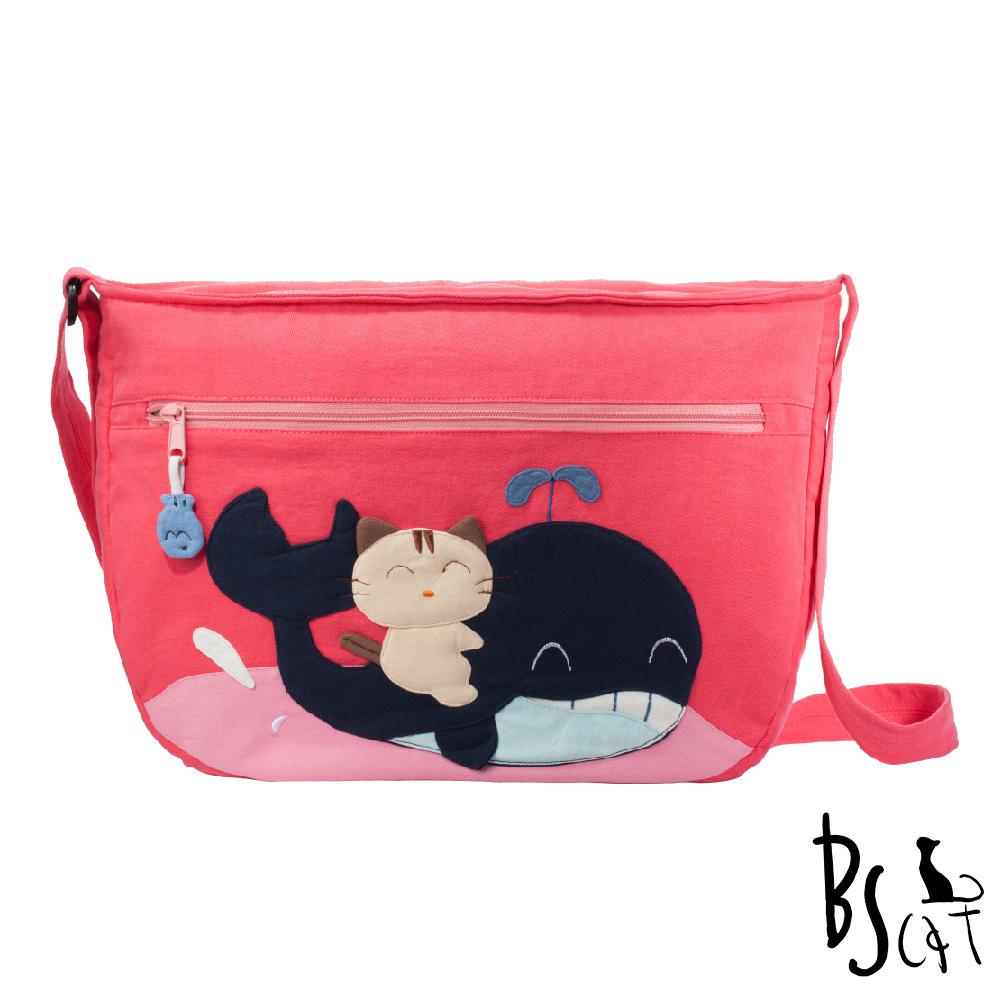 ABS貝斯貓 可愛貓咪拼布 肩背包 斜揹包 (粉) 88-214