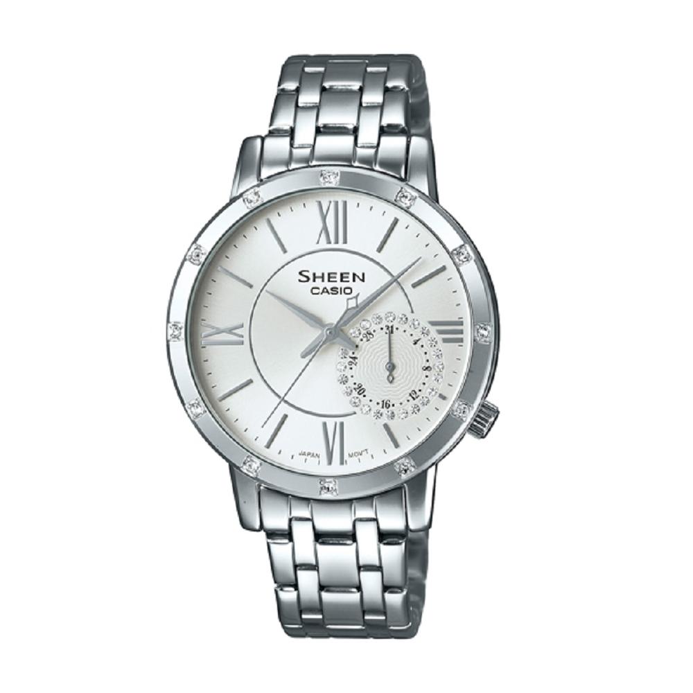 SHEEN 華洛世奇水晶經典簡約三眼腕錶(SHE-3046DP-7A)銀白/34mm