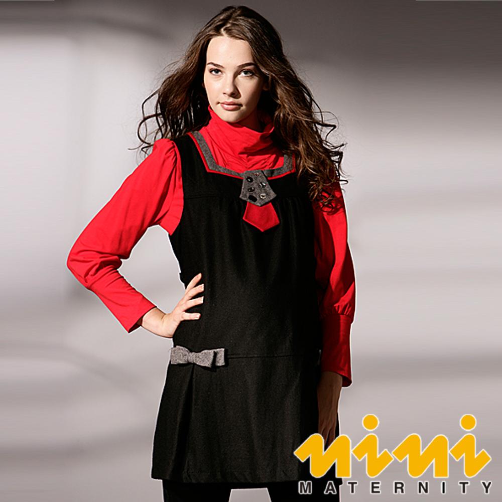 《nini專櫃孕婦裝》俐落大方‧OL最愛秋冬羊毛長版上衣-黑(H3W07)