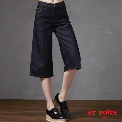 ETBOITE 箱子 BLUE WAY 時髦立體丹寧七分寬褲-原生藍