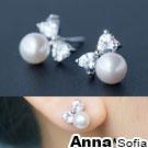 AnnaSofia 俏晶結天然淡水珍珠 925銀針耳針耳環(銀系)
