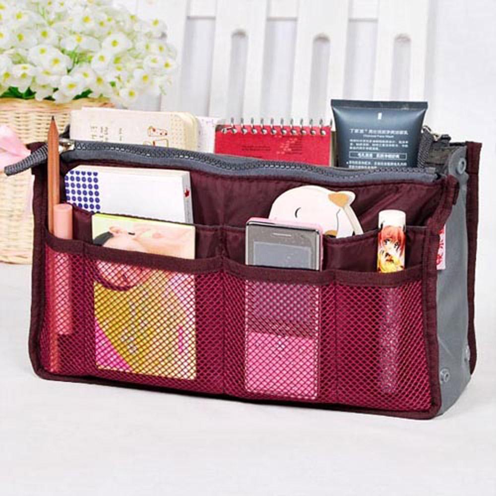 DF【Queenin】韓版手提式雙拉鍊加厚收納包/多用包/媽媽包(共4色)