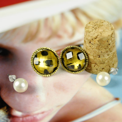 【Aimee Toff】可愛精巧豹紋珍珠四件套耳環