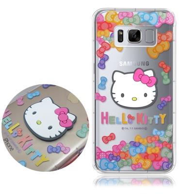 正版授權凱蒂貓 三星 Galaxy S8+ 立體大頭空壓手機殼(七彩凱蒂)