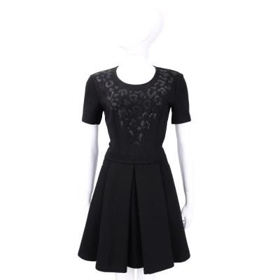 VERSACE 黑色豹紋貼飾短袖洋裝