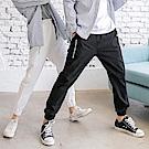 情侶系列~腰抽繩鬆緊星星字母刺繡縮口長褲-OB大尺碼