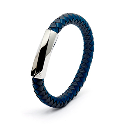 CK Calvin Klein  皮革編織手環-灰色X藍色