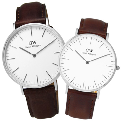 DW Daniel Wellington 經典真皮腕錶-白x咖啡/40mm+36mm