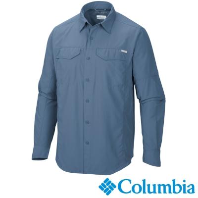 【Columbia哥倫比亞】男-快排防曬50長袖襯衫-鐵藍色 UAM74530IN