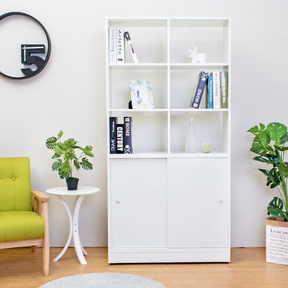 Birdie南亞塑鋼-3尺開放式六格雙拉門塑鋼展示櫃(白色)-90x31x180cm