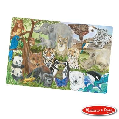 美國瑪莉莎 Melissa & Doug 大型地板拼圖 - 保育類動物 32片
