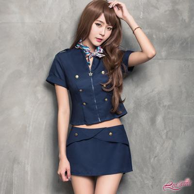 空姐服 深藍色氣質空姐角色扮演服三件組(藍F) Lorraine