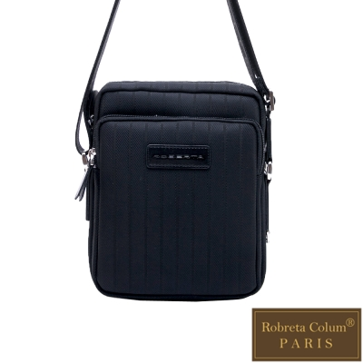 Roberta Colum - 倫敦時尚紳士休閒配牛皮簡約直式側背包-黑