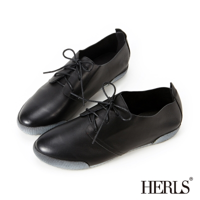 HERLS 全真皮仿舊刷色休閒鞋-黑色