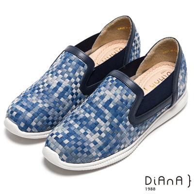DIANA 編織夢享--彩繪馬賽克漸層普普風休閒鞋-牛津藍