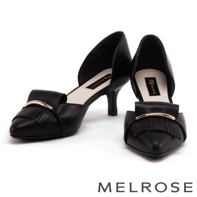 跟鞋 MELROSE 金屬風流蘇造型羊皮尖頭低跟鞋-黑