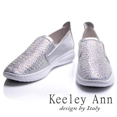 Keeley Ann 金屬科技未來感全真皮舒適百搭樂福鞋(銀色-Ann)