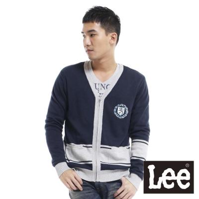 Lee-V領前拉鍊設計長袖針織衫-男款-深藍