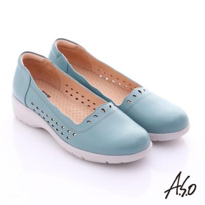 A.S.O 3E健康鞋 真皮水滴雕花寬楦奈米休閒鞋 藍色
