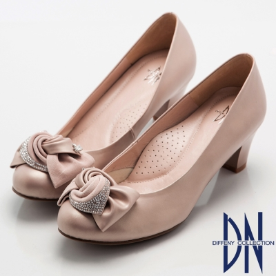 DN-優雅浪漫-低調奢華鑽飾蝴蝶結高跟鞋-粉