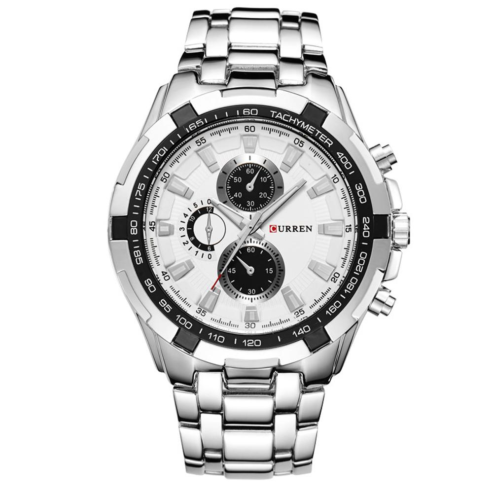 CURREN 卡瑞恩飆風速度 運動撞色假三眼不鏽鋼男錶 銀帶黑框白面42mm