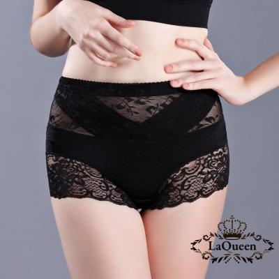 塑褲  v型加壓平腹高腰蠶輕塑褲-黑 La Queen