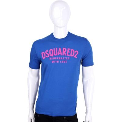 Dsquared2 藍色字母棉質短袖T恤