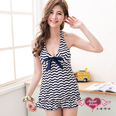 泳衣 依戀海洋 波浪條紋二件式泳裝(白藍M~XL) AngelHoney天使霓裳