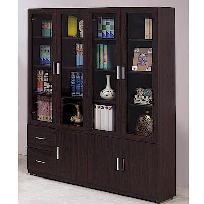 H&D 胡桃色5.2尺書櫥組 (寬159X深32.2X高184.5cm)