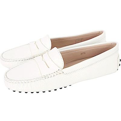 TOD'S Gommino  經典牛皮休閒豆豆鞋(女鞋/米白色)