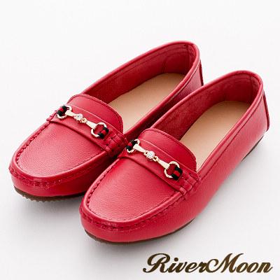River&Moon樂福-超Q軟馬蹄鑽扣立體車縫真皮莫卡辛豆豆鞋-紅