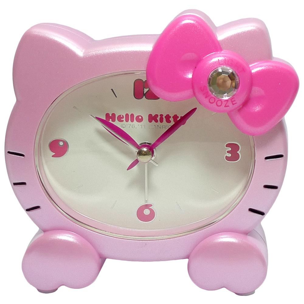 Hello Kitty貓頭造型晶鑽貪睡靜音鬧鐘 JM-E602KT-P