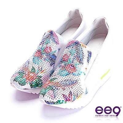 ee9 璀璨迷人繽紛撞色鑲嵌亮鑽內增高休閒鞋 白色