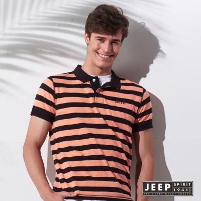 JEEP 品牌文字刺繡條紋短袖POLO衫 (橘黑)