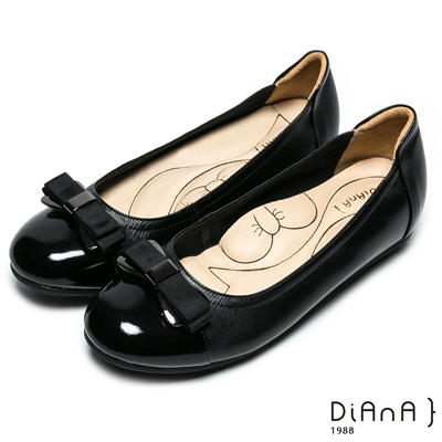 DIANA 漫步雲端蝴蝶結款--經典蝴蝶結超軟Q真皮娃娃鞋 –黑
