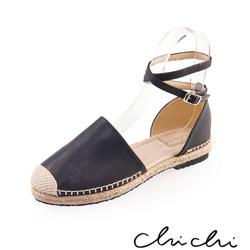 Chichi 繞踝扣環草編平底鞋*黑色