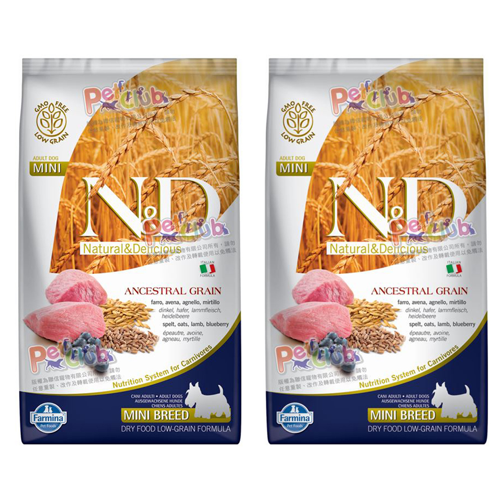 Farmina法米納 ND挑嘴成犬天然糧-羊肉藍莓-小顆粒 800g X 2包