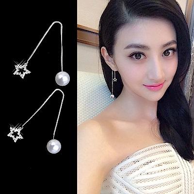 梨花HaNA 韓國925銀璀璨之星珍珠耳線耳環