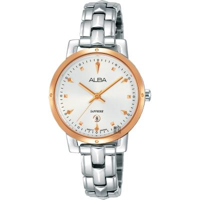 ALBA雅柏 優雅甜心風采女錶(AH7P84X1)-銀x玫塊金框/30mm