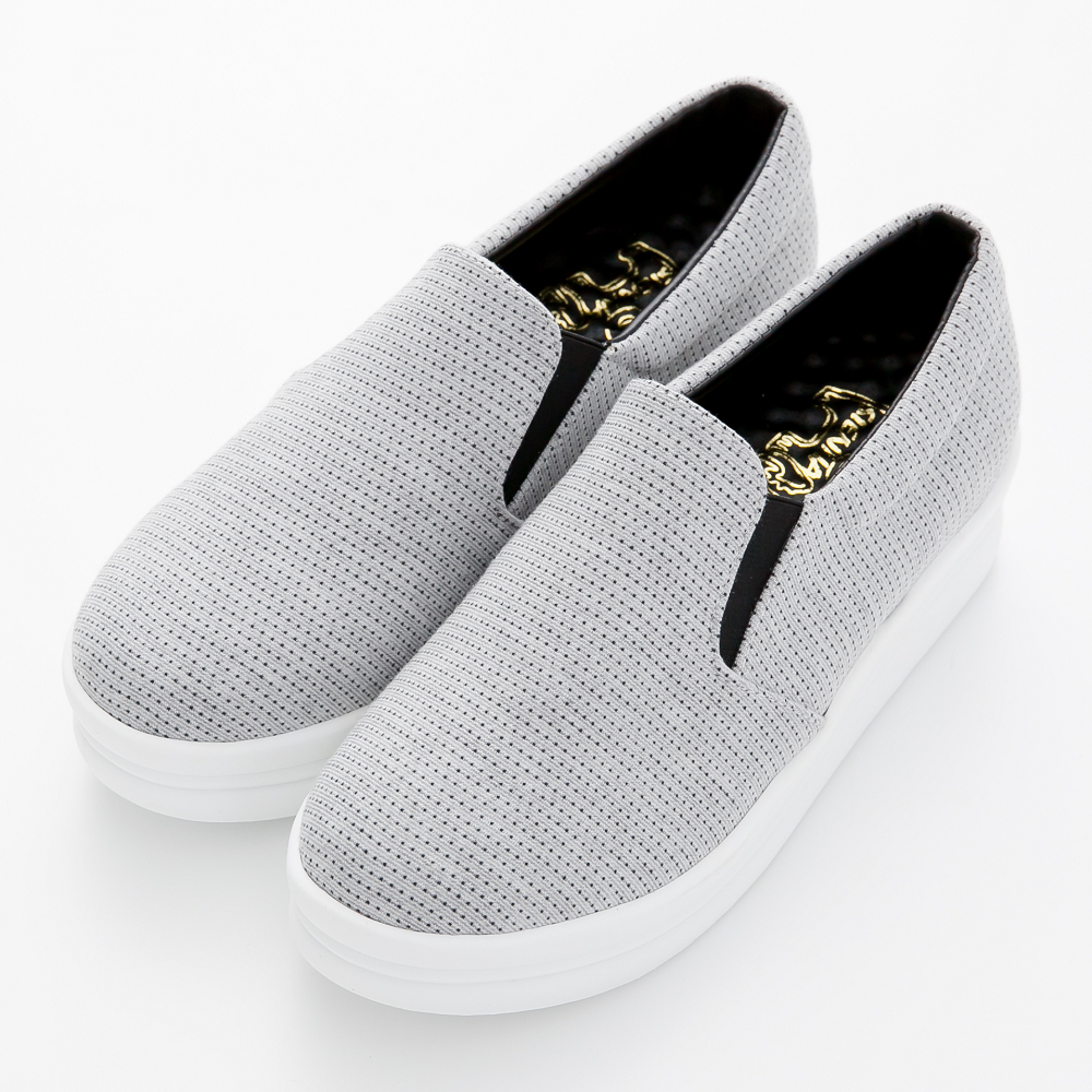 River&Moon厚底鞋-台灣製印花點點厚乳膠懶人休閒鞋-灰