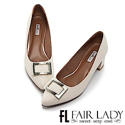 Fair Lady 優雅小姐Miss Elegant 魅力尖頭低跟鞋  經典白