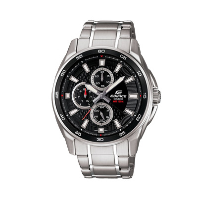 EDIFICE 城市三眼指針不銹鋼錶(EF-334D-1A)-黑面/43.9mm